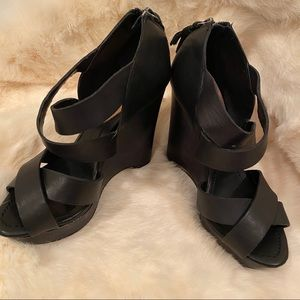 True Religion Strappy Wedge Shoes
